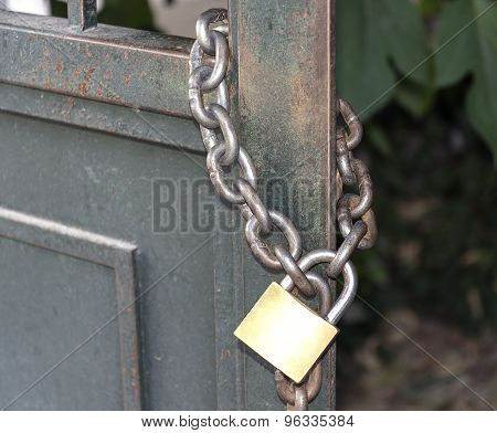 Lock On A Metal Chain