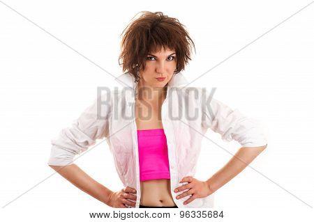 beautiful fashionable woman in a man's shirt