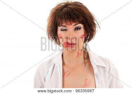 kiss drunken woman in shirt