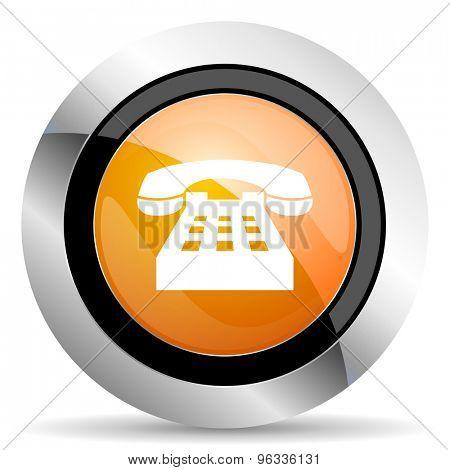 phone orange icon telephone sign