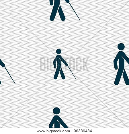 Blind Icon Sign. Seamless Pattern With Geometric Texture. Vector