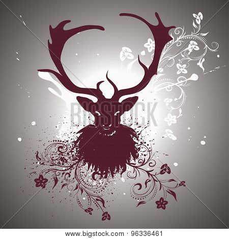 Grunge Stag With Floral