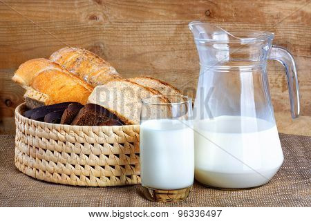 Bread From Rye And Wheat Flour Of Rough Grinding And Glass Milk