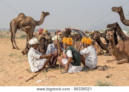 Indian men attended the annual Pushkar Camel Mela.