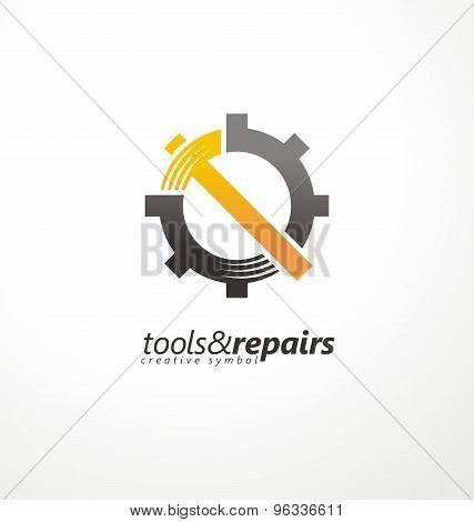 Industrial vector logo design concept