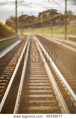 De Focused Railroad Track