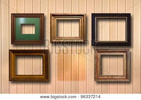 Gilded Wooden Frames For Pictures On Background