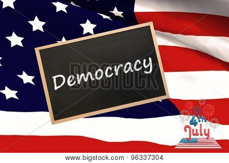 Independence day graphic against blackboard with copy space