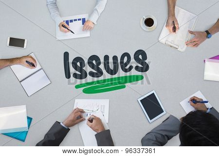 The word issues against business meeting