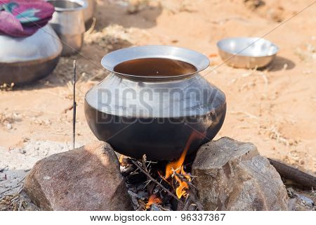 Metal Pot With Food On Fire, Pushkar, India