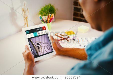 Photo editor using tablet pc against website design