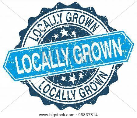 Locally Grown Blue Round Grunge Stamp On White