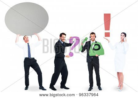 Business people with coloured icons in their hands