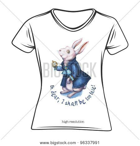 Watercolor wonderland rabbit illustration on a t-shirt template.
