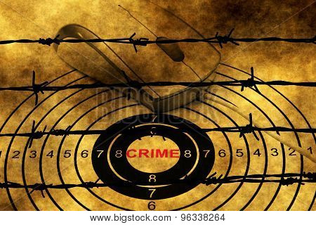 Crime Target Concept Against Barbwire
