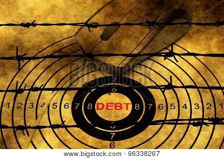 Debt Target Concept Against Barbwire
