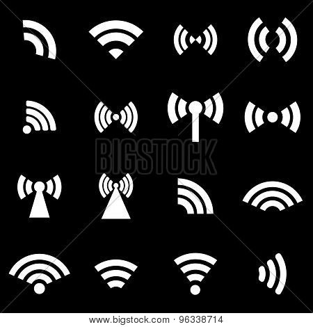 Vector White Wireless Icons  Set