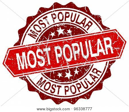Most Popular Red Round Grunge Stamp On White