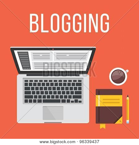 Blogging. Laptop, notepad, pencil and coffee cup. Top view. Flat design illustration concept