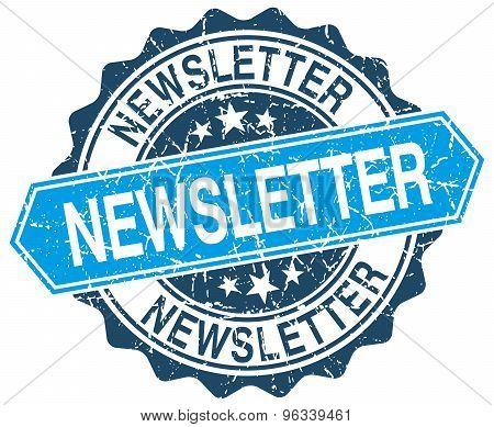 Newsletter Blue Round Grunge Stamp On White