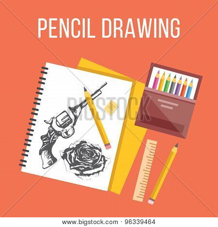 Pencil drawing flat illustration. Flat design concepts for web banners, web sites.