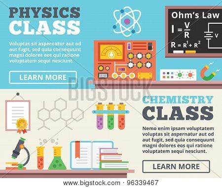 Physics class and chemistry class concepts. Top view. Trendy flat design banner illustrations
