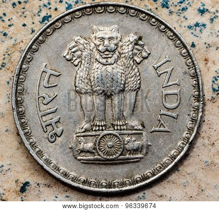 ASHOKA PILLAR emblem represented in Indian coin