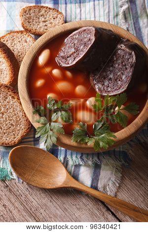 Delicious Bean Soup Fabada Asturiana Closeup Vertical Top View