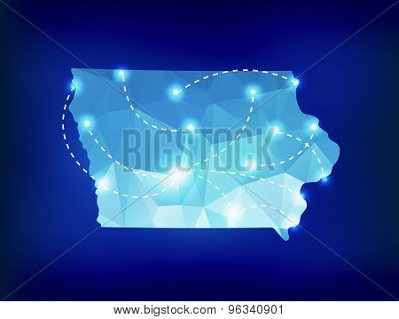 Iowa State Map Polygonal With Spotlights Places