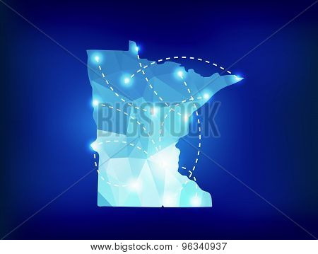 Minnesota State Map Polygonal With Spotlights Places