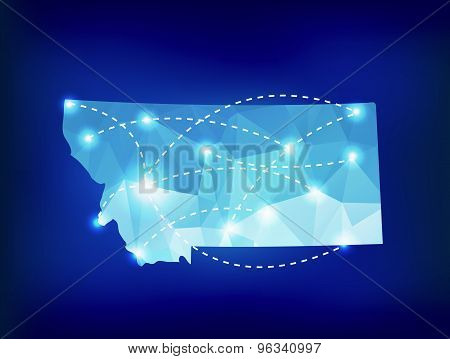 Montana State Map Polygonal With Spotlights Places