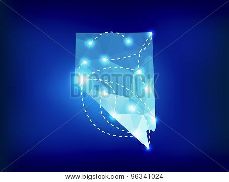 Nevada State Map Polygonal With Spotlights Places
