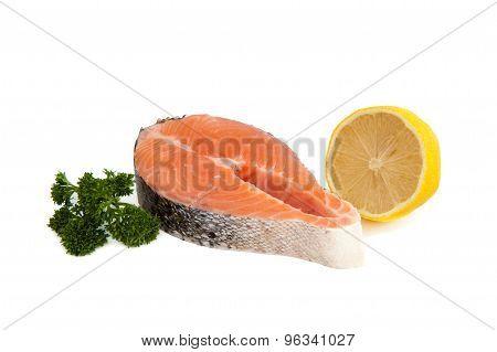 Salmon Steak, Parsley And A Half Of Lemon