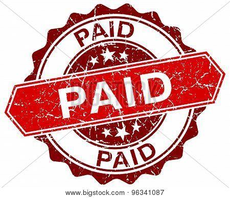 Paid Red Round Grunge Stamp On White