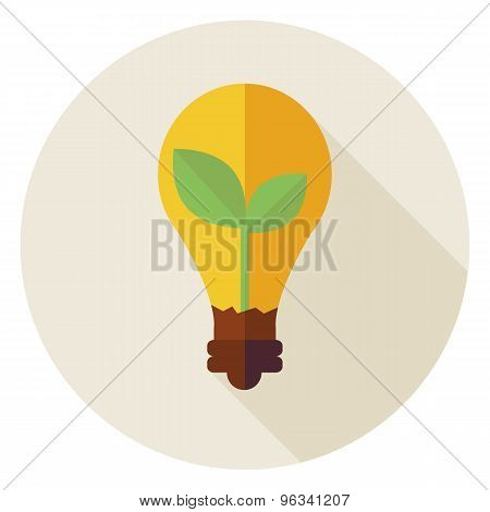 Flat Natural Environment Plant With Idea Lamp Circle Icon With Long Shadow
