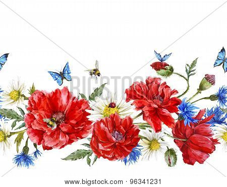 Summer Watercolor Vintage Floral Seamless Border with Blooming Red Poppies
