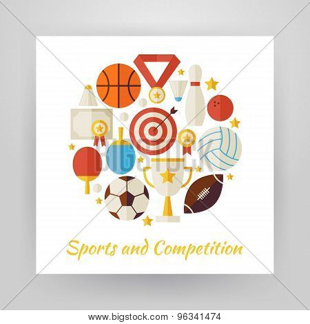 Flat Style Circle Vector Set Of Sport Recreation And Competition Objects Isolated Over White