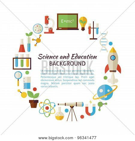 Flat Style Vector Circle Template Collection Of Science And Education Objects Over White