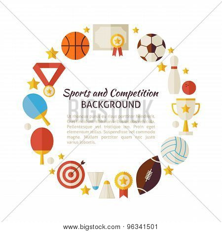 Flat Style Vector Circle Template Of Sport Recreation And Competition Objects Over White