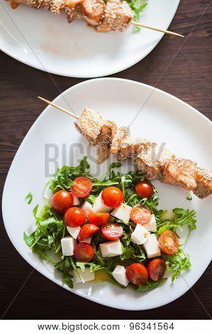 Salmon Teriyaki With Vegetable Salad