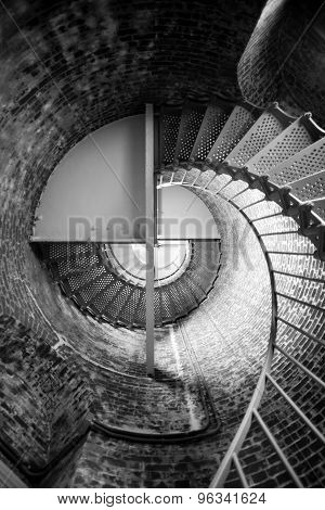 Spiral Staircase Metal Brick Architecture Historic Building Interior