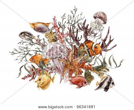 Summer Vintage Watercolor Sea Life Greeting Card with Seaweed Starfish Coral Algae, Jellyfish and Fi