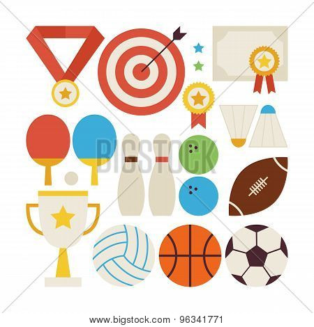 Flat Style Vector Collection Of Sport Recreation And Competition Objects Isolated Over White