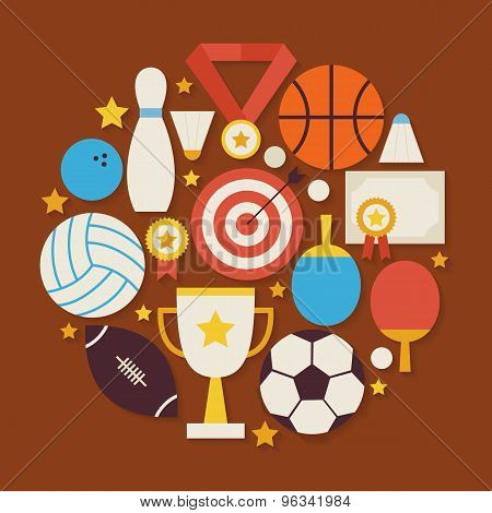 Sport Recreation And Competion Vector Flat Design Circle Shaped Objects Set With Shadow