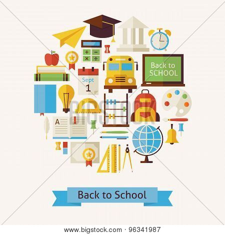 Vector Flat Style Back To School And Education Objects Concept