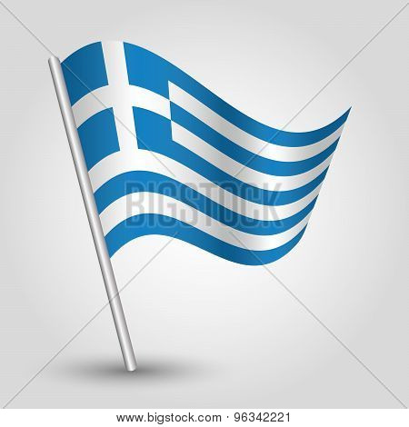 Vector Waving Triangle Greek  Flag On Pole - National Symbol Of Greece With Inclined Metal St