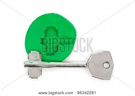 Key impression - security concept isolated on white background