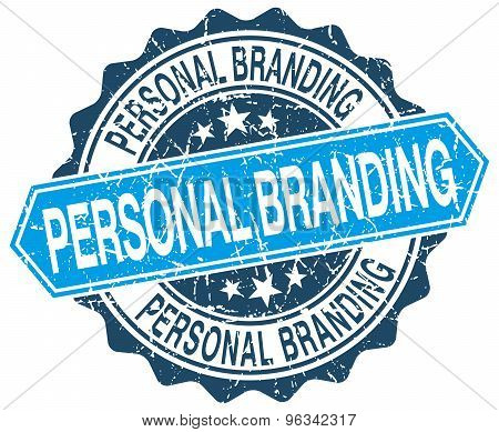 Personal Branding Blue Round Grunge Stamp On White