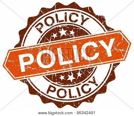 Policy Orange Round Grunge Stamp On White