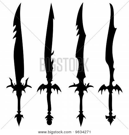 swords silhouettes against white